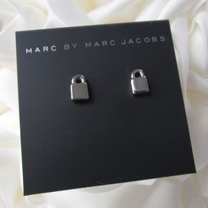 NWT Marc Jacobs Silver Locked Up Stud Earrings